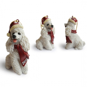 White Poodle Christmas Tree Ornaments